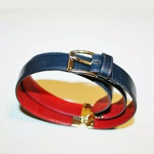 Gucci navy gold leather skinny adjustable belt